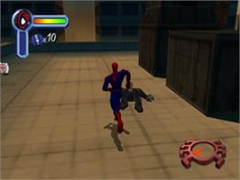 In game image of Spider-Man on the Nintendo N64.