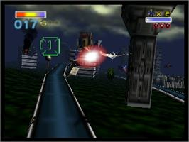 In game image of Star Fox 64 on the Nintendo N64.