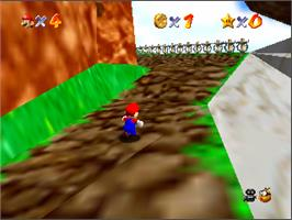 In game image of Super Mario 64 on the Nintendo N64.