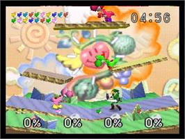 In game image of Super Smash Bros. on the Nintendo N64.
