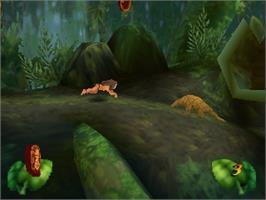 In game image of Tarzan on the Nintendo N64.