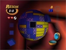 In game image of Tetrisphere on the Nintendo N64.
