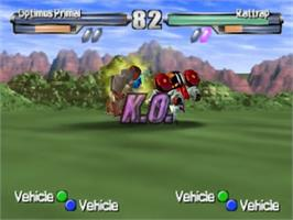 In game image of Transformers: Beast Wars Transmetals on the Nintendo N64.