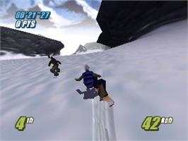 In game image of Twisted Edge: Extreme Snowboarding on the Nintendo N64.