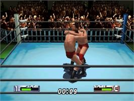 In game image of Virtual Pro Wrestling 2: Oudou Keishou on the Nintendo N64.