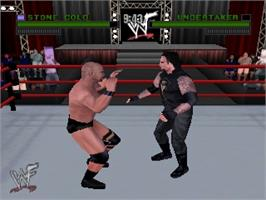 In game image of WWF Attitude on the Nintendo N64.