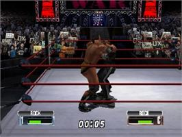 In game image of WWF No Mercy on the Nintendo N64.