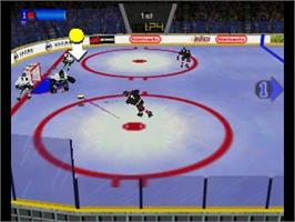 In game image of Wayne Gretzky's 3D Hockey '98 on the Nintendo N64.