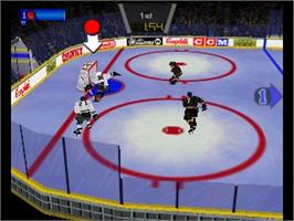 In game image of Wayne Gretzky's 3D Hockey on the Nintendo N64.