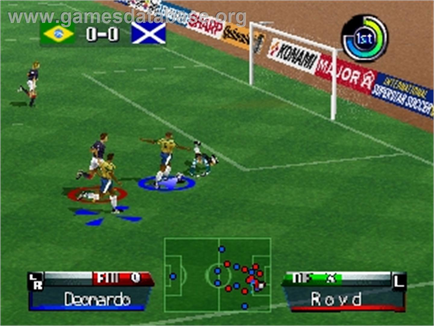 game image of International Superstar Soccer '98 on the Nintendo N64