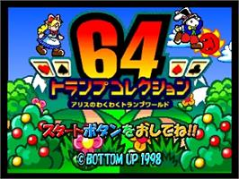 Title screen of 64 Trump Collection: Alice no Waku Waku Trump World on the Nintendo N64.