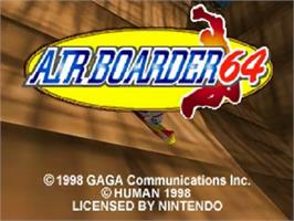 Title screen of Air Boarder 64 on the Nintendo N64.