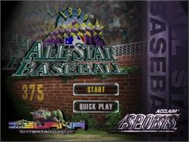 Title screen of All-Star Baseball '99 on the Nintendo N64.