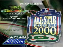 Title screen of All-Star Baseball 2000 on the Nintendo N64.