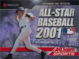 Title screen of All-Star Baseball 2001 on the Nintendo N64.