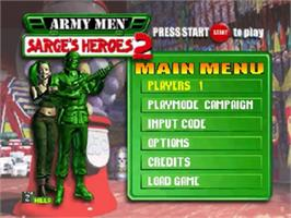 Title screen of Army Men: Sarge's Heroes 2 on the Nintendo N64.