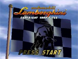 Title screen of Automobili Lamborghini: Super Speed Race 64 on the Nintendo N64.