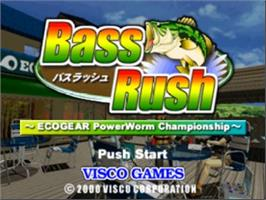 Title screen of Bass Rush: ECOGEAR PowerWorm Championship on the Nintendo N64.