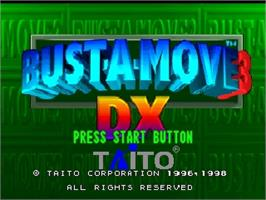 Title screen of Bust a Move 3 DX on the Nintendo N64.