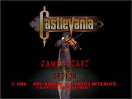Title screen of Castlevania: Legacy of Darkness on the Nintendo N64.