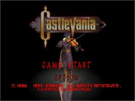 Title screen of Castlevania on the Nintendo N64.