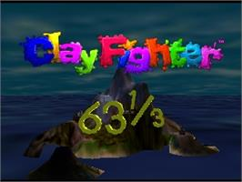 Title screen of Clay Fighter 63 1/3 on the Nintendo N64.