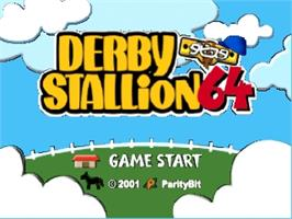 Title screen of Derby Stallion 64 on the Nintendo N64.