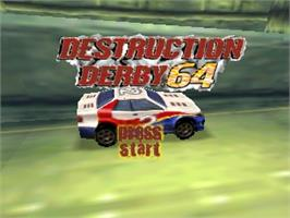Title screen of Destruction Derby 64 on the Nintendo N64.