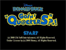 Title screen of Donald Duck: Goin' Quackers on the Nintendo N64.