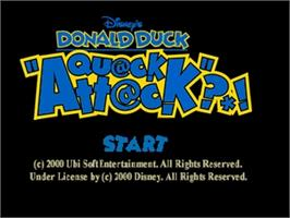 Title screen of Donald Duck: Quack Attack on the Nintendo N64.