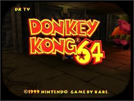 Title screen of Donkey Kong 64 on the Nintendo N64.