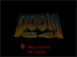 Title screen of Doom 64 on the Nintendo N64.