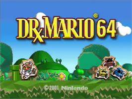 Title screen of Dr. Mario 64 on the Nintendo N64.