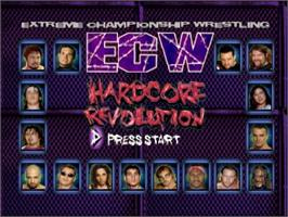 Title screen of ECW Hardcore Revolution on the Nintendo N64.