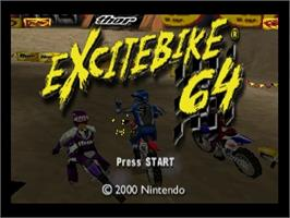 Title screen of Excite Bike 64 on the Nintendo N64.