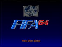 Title screen of FIFA 64 on the Nintendo N64.