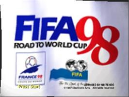 Title screen of FIFA 98: Road to World Cup on the Nintendo N64.