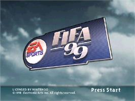 Title screen of FIFA 99 on the Nintendo N64.