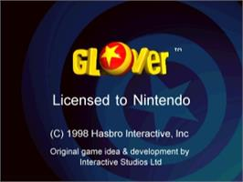 Title screen of Glover on the Nintendo N64.