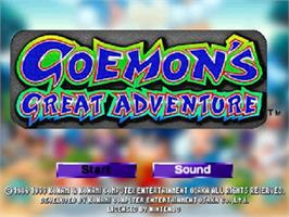Title screen of Goemon's Great Adventure on the Nintendo N64.