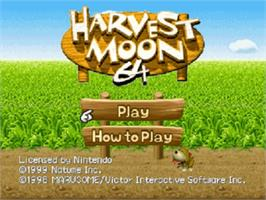 Title screen of Harvest Moon 64 on the Nintendo N64.