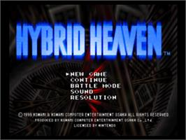 Title screen of Hybrid Heaven on the Nintendo N64.