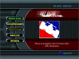 Title screen of Indy Racing 2000 on the Nintendo N64.