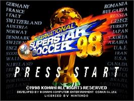 Title screen of International Superstar Soccer '98 on the Nintendo N64.