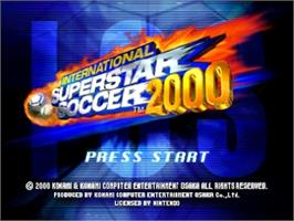 Title screen of International Superstar Soccer 2000 on the Nintendo N64.