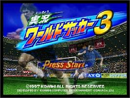 Title screen of Jikkyou World Soccer 3 on the Nintendo N64.