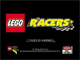 Title screen of LEGO Racers on the Nintendo N64.