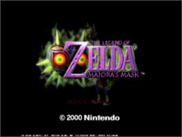 Title screen of Legend of Zelda: Majora's Mask on the Nintendo N64.