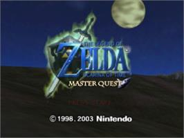 Title screen of Legend of Zelda: Ocarina of Time / Master Quest on the Nintendo N64.