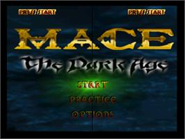 Title screen of Mace: The Dark Age on the Nintendo N64.